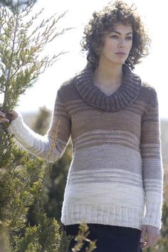 Knit-Rio Horizons Pullover - Turtleneck, worked flat, degrading colors - (XS-L)