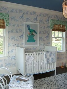 Nursery spaces | blue and white nursery | lulu DL wallpaper
