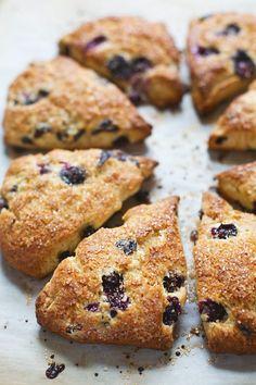 Bakery Style Blueberry Scones - crunchy sugaroutside, juicy blueberries + flaky tender inside. | pinchofyum.com