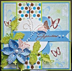 This card shows what beautiful creation you can make with the new stamp & die combinations: The Collectables!    Collectables COL1303 and COL1305,  Paperpad Beautiful Butterflies PK9089, Pearl Swirls CA3103
