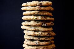 dark chocolate, pistachio, and sea salt cookies