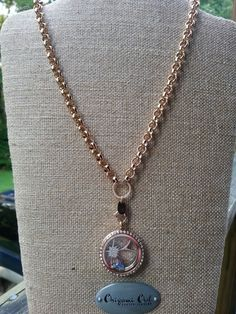 Rose Gold chain with flower insert and hummingbird charm by Origami Owl.  I love this combo. Click on the pic to order yours.