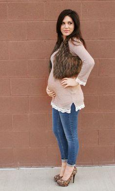 crochet trim top and fur vest