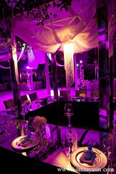 indian wedding reception decor lighting purple http://maharaniweddings.com/gallery/photo/11655