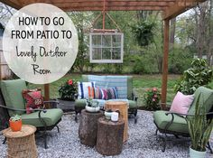 Who says you need a wall to have a window? Blogger Lindsay Jackman of The White Buffalo Styling Co. shows how to turn a patio into a rocking outdoor room (real rocks are optional). || @lindsaylj