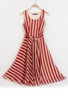 Red-white Stripped Print Belt Sleeveless Chiffon Dress