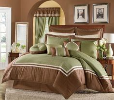 green and brown bedding and brown wall paint for bedroom decorating