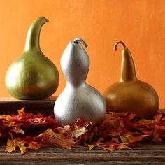 Spray painting faux gourds with different metallic shades to make a beautiful statement:  http://www.bhg.com/thanksgiving/indoor-decorating/color-combination-fall-crafts/?socsrc=bhgpin102313metallicgourds&page=15