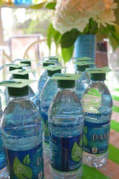grad cap water bottles, college graduation party mossandmint.com
