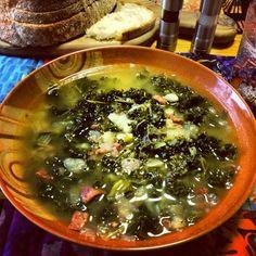 Caldo Verde Portuguese Soup, on Cape Cod. Don't forget the linguiça ...