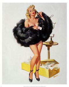 poster, telephon, fur, pinup girl, joyc ballantyn