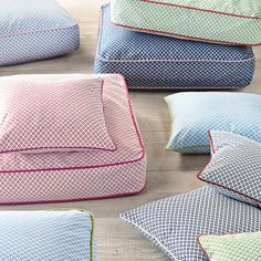 Floor cushions for the reading nook.