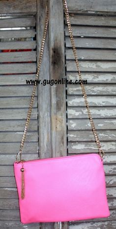 Clutch Purse with Gold Strap in Neon Pink www.gugonline.com $29.95