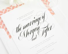 Wedding Invitations with calligraphy and peach liner