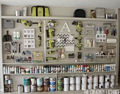 DIY Garage Pegboard Storage Wall. Cool Pegboard Storage Pieces. {The Creativity Exchange}----Gorgeous and love the background/wall paint color.