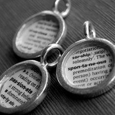 Dictionary pendants.