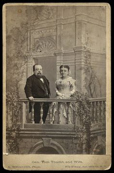 1881 Cabinet Card Photo of Famous Victorian Sideshow Midget Tom Thumb and Wife