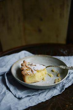 Italian 'Grandma's cake' with lemon custard and pine nuts