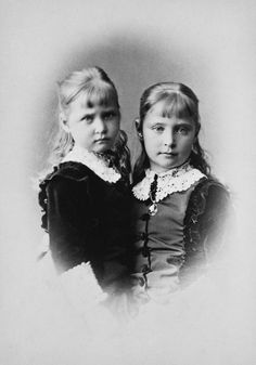 Princess Marie, aka May, with her older sister Princess Alix, later Empress of Russia.  It's interesting to ponder whom May would've married, if she carried hemophilia, and what her life would've been like had she lived.