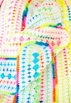 Crochet Afghan Blanket Throw Neon Baby Small