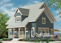Plan de Maison unifamiliale W3519, joli cottage de style champêtre avec un joli #backyard. 3 chambres 2 étages, économique. Dream house cottage, maison de rêve. #Charm #Cozy #Cosy #Affordable