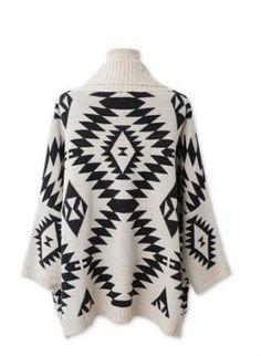 White Sweater - Aztec Print Oversize Cardigan Poncho
