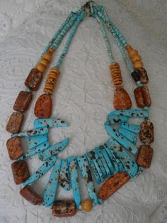 Vintage Mexican Cut Stone Turquoise Necklace