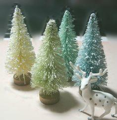 """4 bottle brush trees 3"""" AQUA BLUE CREAM shabby vintage style decoration on Etsy, $9.00"""