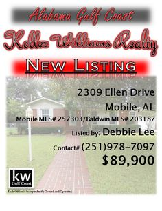2309 Ellen Drive, Mobile, AL...Mobile MLS# 257303/Baldwin MLS# 203187...$89,900...This 2 bedroom, 2 baths has large walk-in closets. A glassed in Florida room. A 15x30 in-ground pool with new pump and a solar blanket with full privacy fence. Lime, lemon, and persimmon trees on lot. Located close to AirBus, Berkley, and Dog River. This home has a 1 yr old air conditioner and 1 yr old heater valves, and new electrical breaker panels. Alarm system. Contact Debbie Lee at 251-978-7097.