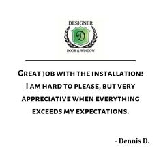 Customer review on a front door replacement by Designer Door and Window.