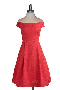 Coral retro off the shoulder dress