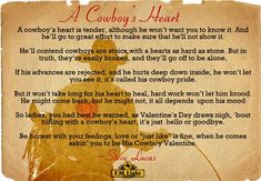 "Happy Valentine's Day from F.M. Light and Sons! Enjoy this poem - ""A Cowboy's Heart"" by Steve Lucas - Poster by F.M. Light and Sons. #ValentinesDay #Cowboy #Poem"