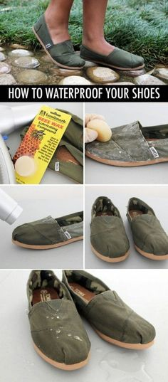 How to waterproof your shoes This is a good tip for camping and other general purposes. Again, I haven't tried this out personally. You might want to try it out on an old pair of shoes first.