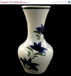 50% OFF SALE Vintage Blue and White Small Vase