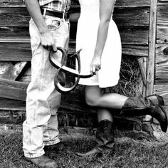 Cute idea for engagement pictures with a little country flare.