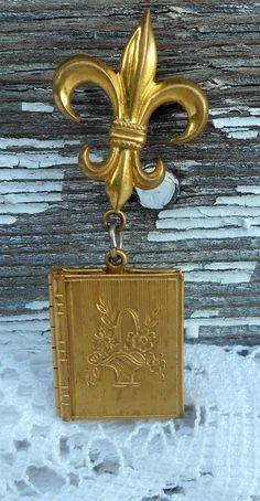 Antique Locket Brooch Fluer De Lis