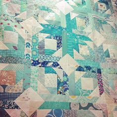Teal vomit quilt close up by hipsterquilter on Flickr