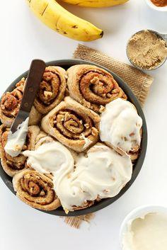 DELICIOUS Vegan Banana Bread Cinnamon Rolls! One bowl, 9 ingredients and so delicious!