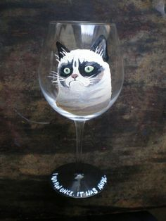 Grumpy cat wine glass!!