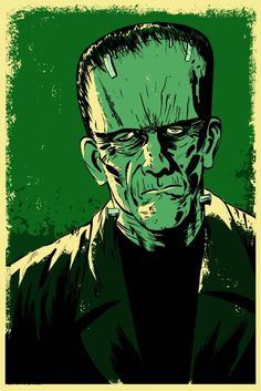 This listing is for an 11x17 Frankenstein's Monster poster illustrated by Mark Welser.