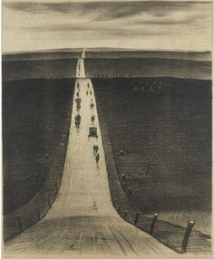 Christopher Richard Wynne Nevinson  The Road from Arras to Bapaume  Creation Date: 1918  Medium: Lithograph.