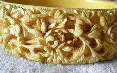 Antique Art Deco Victorian Hand Carved Floral Womens Faux Ivory Bracelet C 1900