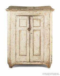 "$2880  Pennsylvania painted pine corner jelly cupboard, 19th c., 63 1/2"" h., 50 1/2"" w."