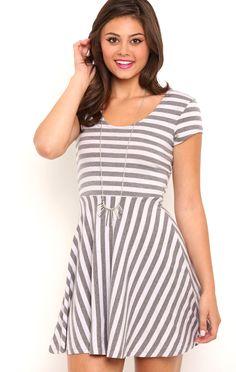 Deb Shops stripe knit cap sleeve skater dress