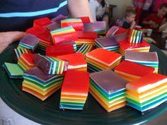 Another rainbow Jell-o idea.