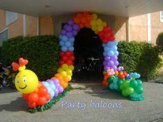 ballon arches, the hungry caterpillar, balloon arch, balloon decorating, caterpillar balloon, para festa, parti idea, kid parties, arch balloons