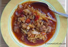 Gourmet Girl Cooks: Spicy Beef & Cabbage Soup - Slow Cooker Style