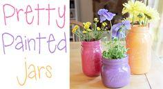 diy home decor, recycled jars, painted mason jars, glass jar, colorful decor