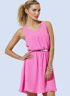 Pink Party Dress - Neon Pink Dress with Back | UsTrendy