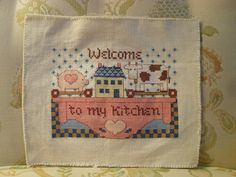 "Counted Cross-Stitch Sampler ""Welcome to my Kitchen"" with pig and cow"